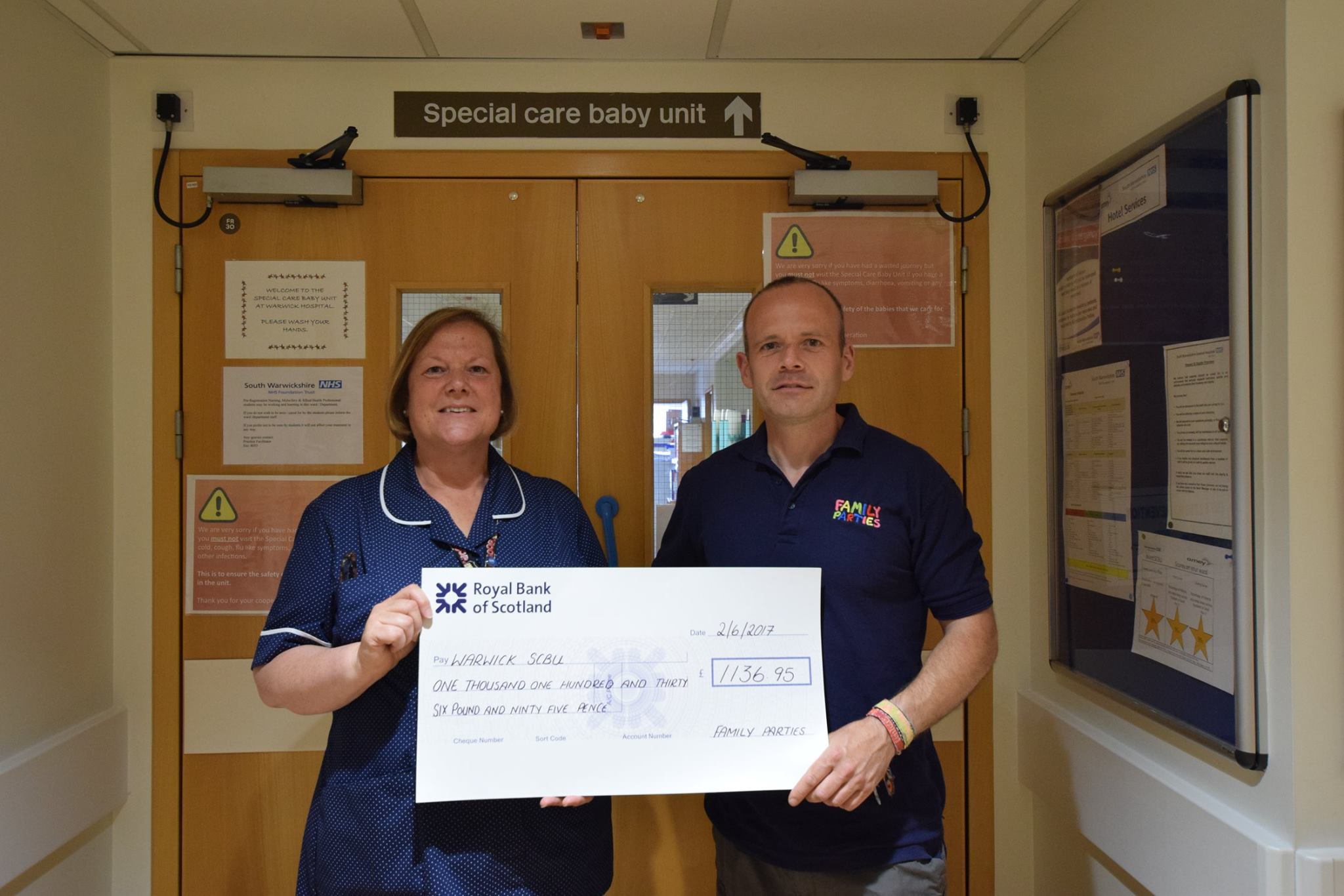 Family Parties cheque presentation to Warwick Hospitals SCBU (Special Care Baby Unit)
