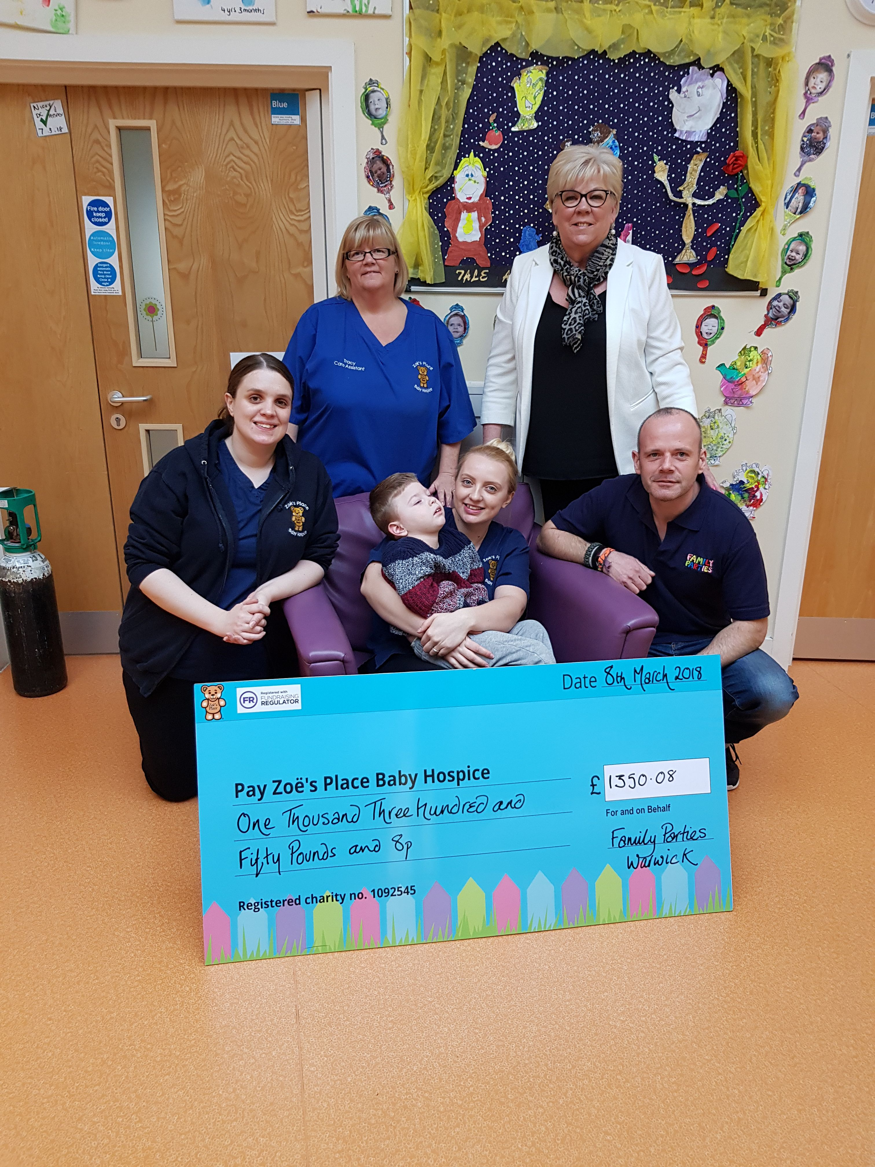 Family Parties cheque presentation to Zoe's Place Baby Hospice in Coventry